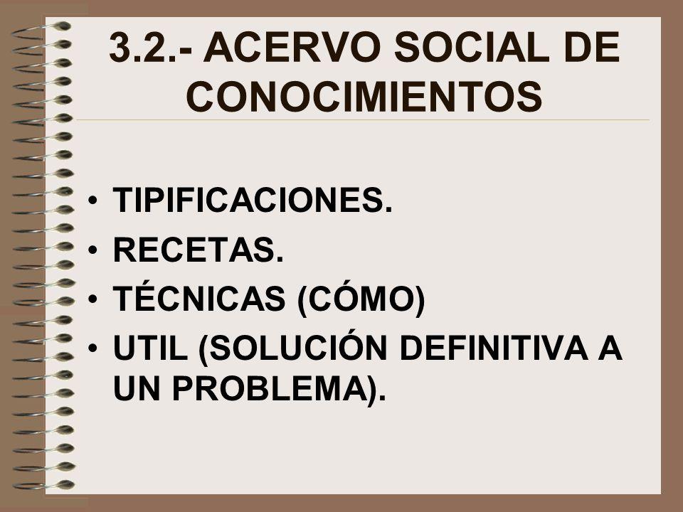 3.2.- ACERVO SOCIAL DE CONOCIMIENTOS TIPIFICACIONES. RECETAS. TÉCNICAS (CÓMO) UTIL (SOLUCIÓN DEFINITIVA A UN PROBLEMA).
