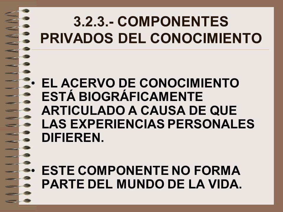 3.2.3.- COMPONENTES PRIVADOS DEL CONOCIMIENTO EL ACERVO DE CONOCIMIENTO ESTÁ BIOGRÁFICAMENTE ARTICULADO A CAUSA DE QUE LAS EXPERIENCIAS PERSONALES DIF
