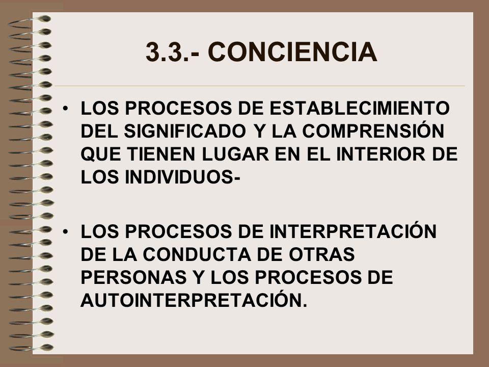 3.3.- CONCIENCIA LOS PROCESOS DE ESTABLECIMIENTO DEL SIGNIFICADO Y LA COMPRENSIÓN QUE TIENEN LUGAR EN EL INTERIOR DE LOS INDIVIDUOS- LOS PROCESOS DE I