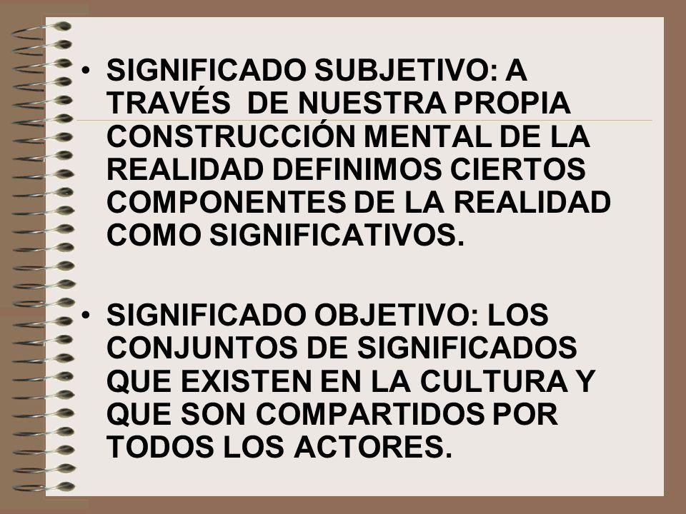 SIGNIFICADO SUBJETIVO: A TRAVÉS DE NUESTRA PROPIA CONSTRUCCIÓN MENTAL DE LA REALIDAD DEFINIMOS CIERTOS COMPONENTES DE LA REALIDAD COMO SIGNIFICATIVOS.