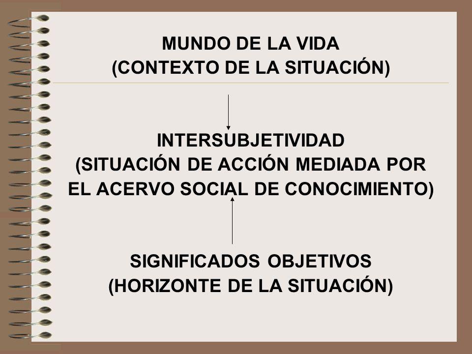 MUNDO DE LA VIDA (CONTEXTO DE LA SITUACIÓN) INTERSUBJETIVIDAD (SITUACIÓN DE ACCIÓN MEDIADA POR EL ACERVO SOCIAL DE CONOCIMIENTO) SIGNIFICADOS OBJETIVO