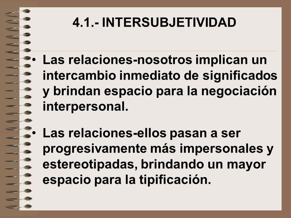 4.1.- INTERSUBJETIVIDAD Las relaciones-nosotros implican un intercambio inmediato de significados y brindan espacio para la negociación interpersonal.