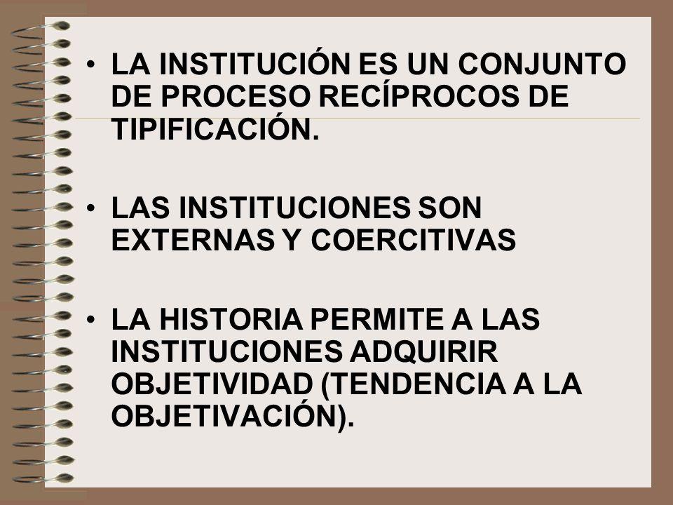 LA INSTITUCIÓN ES UN CONJUNTO DE PROCESO RECÍPROCOS DE TIPIFICACIÓN. LAS INSTITUCIONES SON EXTERNAS Y COERCITIVAS LA HISTORIA PERMITE A LAS INSTITUCIO