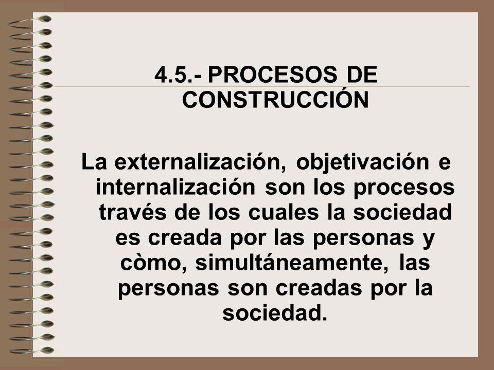 4.5.- PROCESOS DE CONSTRUCCIÓN La externalización, objetivación e internalización son los procesos través de los cuales la sociedad es creada por las