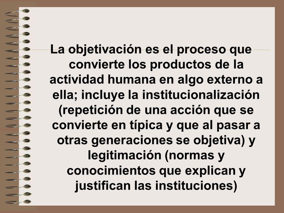 La objetivación es el proceso que convierte los productos de la actividad humana en algo externo a ella; incluye la institucionalización (repetición d