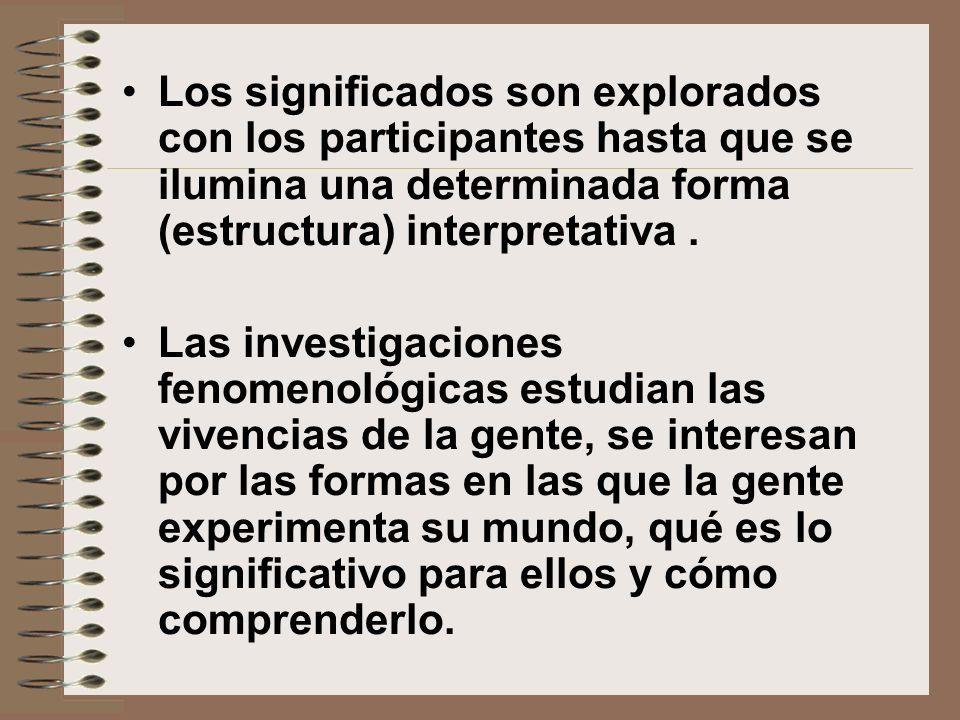 Los significados son explorados con los participantes hasta que se ilumina una determinada forma (estructura) interpretativa. Las investigaciones feno