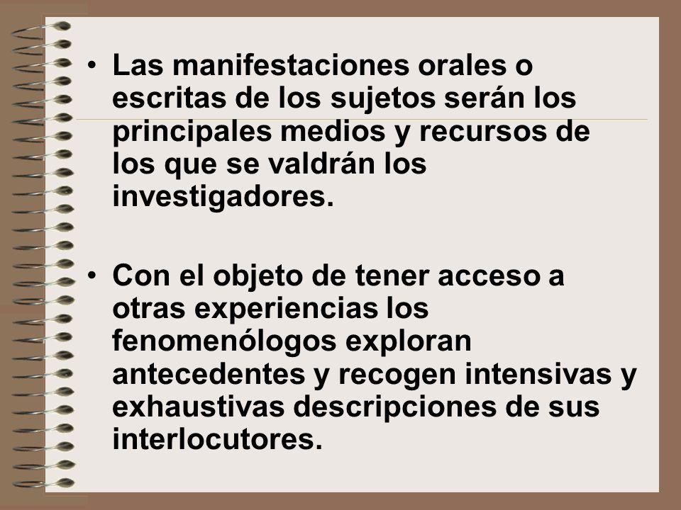 Las manifestaciones orales o escritas de los sujetos serán los principales medios y recursos de los que se valdrán los investigadores. Con el objeto d