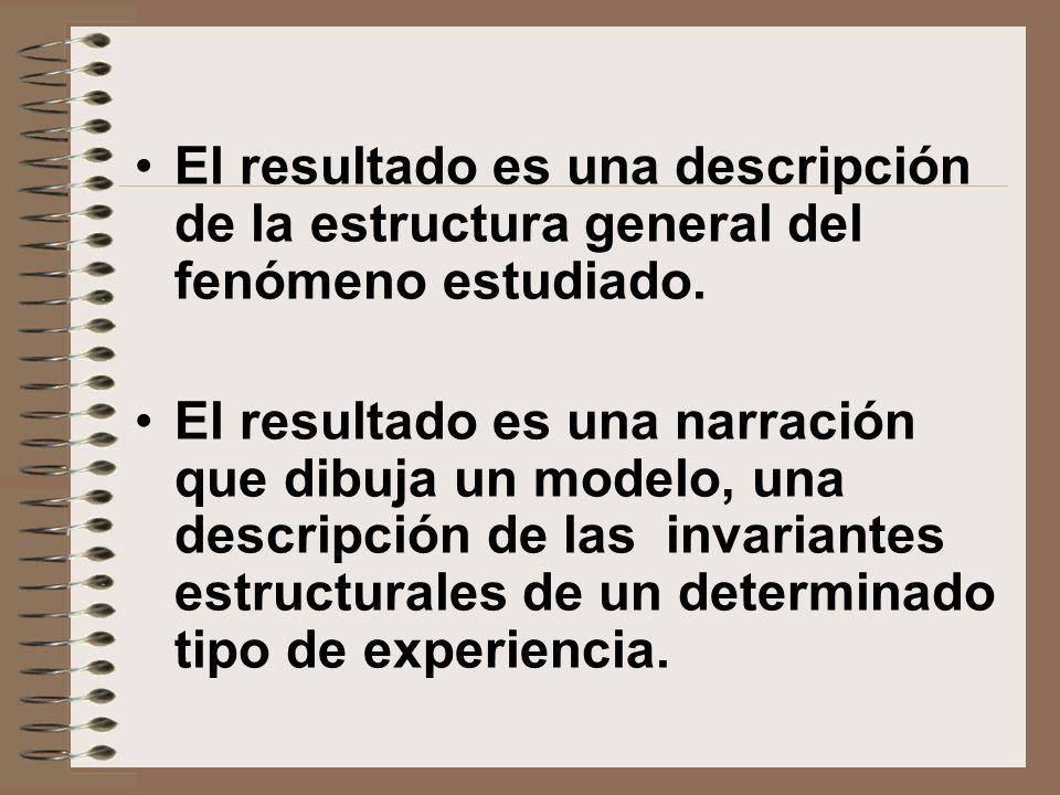 El resultado es una descripción de la estructura general del fenómeno estudiado. El resultado es una narración que dibuja un modelo, una descripción d