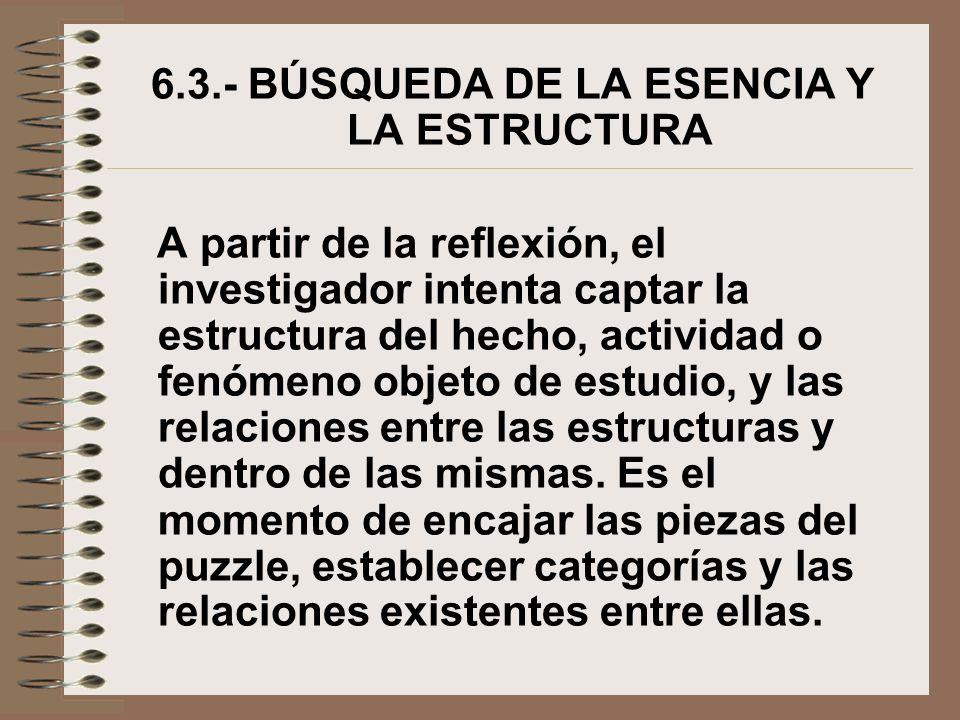 6.3.- BÚSQUEDA DE LA ESENCIA Y LA ESTRUCTURA A partir de la reflexión, el investigador intenta captar la estructura del hecho, actividad o fenómeno ob