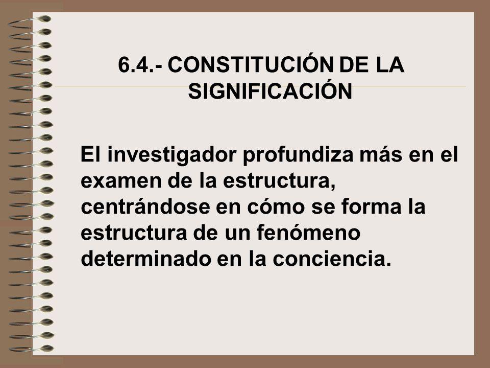 6.4.- CONSTITUCIÓN DE LA SIGNIFICACIÓN El investigador profundiza más en el examen de la estructura, centrándose en cómo se forma la estructura de un