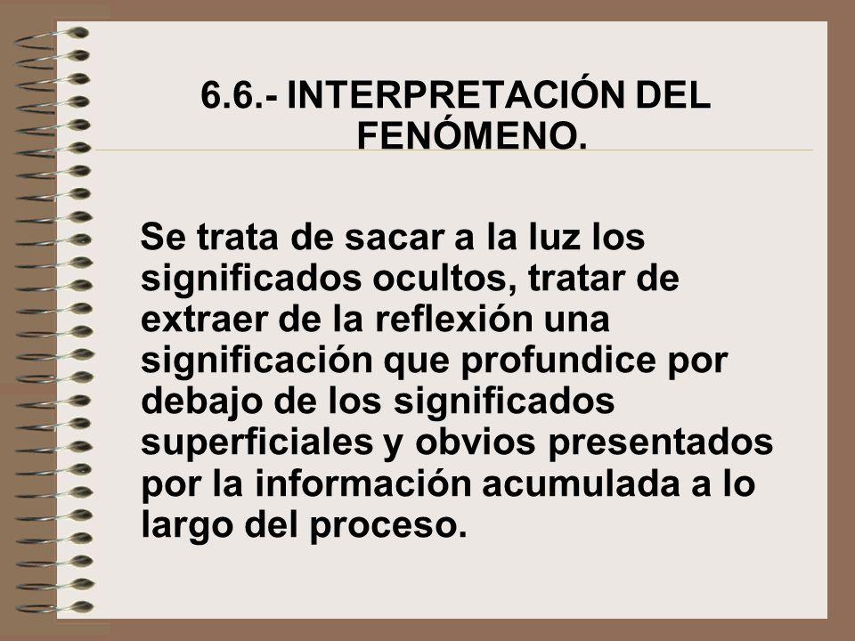 6.6.- INTERPRETACIÓN DEL FENÓMENO. Se trata de sacar a la luz los significados ocultos, tratar de extraer de la reflexión una significación que profun