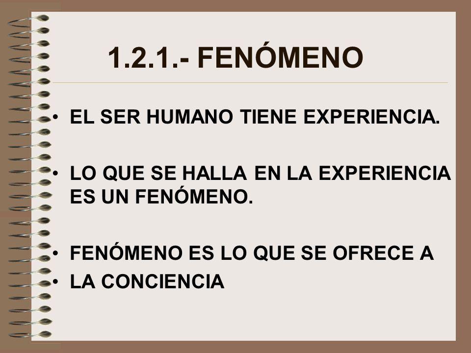 1.2.1.- FENÓMENO EL SER HUMANO TIENE EXPERIENCIA. LO QUE SE HALLA EN LA EXPERIENCIA ES UN FENÓMENO. FENÓMENO ES LO QUE SE OFRECE A LA CONCIENCIA