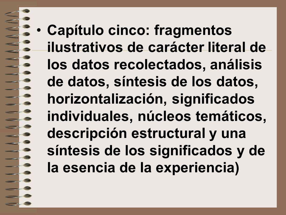 Capítulo cinco: fragmentos ilustrativos de carácter literal de los datos recolectados, análisis de datos, síntesis de los datos, horizontalización, si