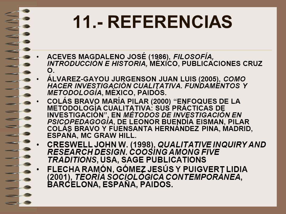 11.- REFERENCIAS ACEVES MAGDALENO JOSÉ (1986), FILOSOFÍA, INTRODUCCIÓN E HISTORIA, MÉXICO, PUBLICACIONES CRUZ O. ÁLVAREZ-GAYOU JURGENSON JUAN LUIS (20