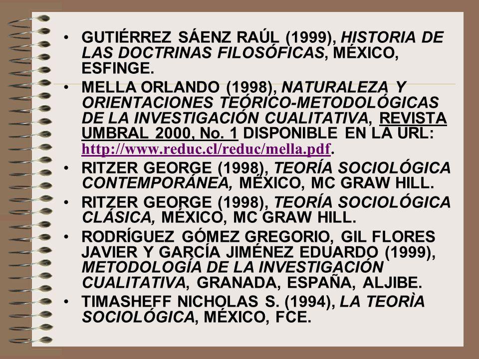 GUTIÉRREZ SÁENZ RAÚL (1999), HISTORIA DE LAS DOCTRINAS FILOSÓFICAS, MÉXICO, ESFINGE. MELLA ORLANDO (1998), NATURALEZA Y ORIENTACIONES TEÓRICO-METODOLÓ