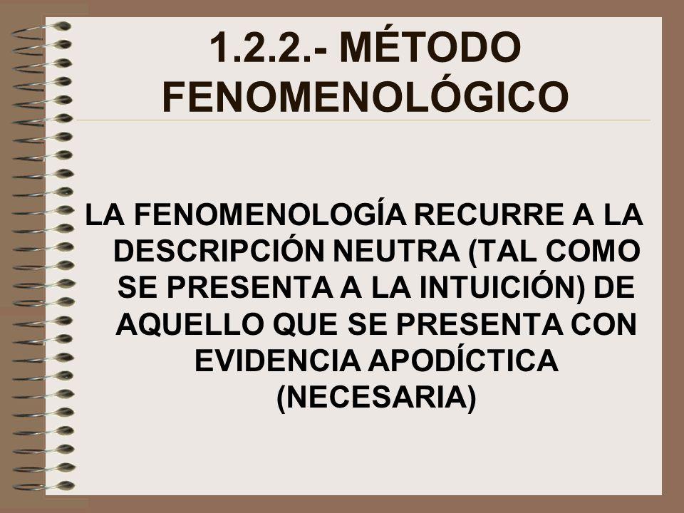 1.2.2.- MÉTODO FENOMENOLÓGICO LA FENOMENOLOGÍA RECURRE A LA DESCRIPCIÓN NEUTRA (TAL COMO SE PRESENTA A LA INTUICIÓN) DE AQUELLO QUE SE PRESENTA CON EV
