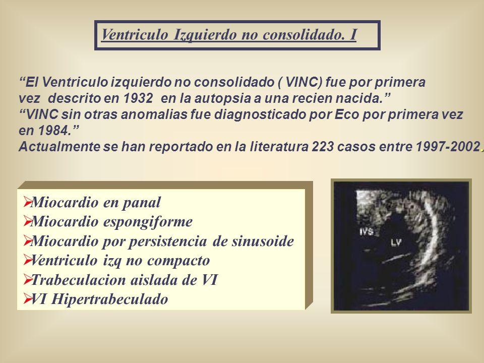 Ventriculo Izquierdo no consolidado. I El Ventriculo izquierdo no consolidado ( VINC) fue por primera vez descrito en 1932 en la autopsia a una recien