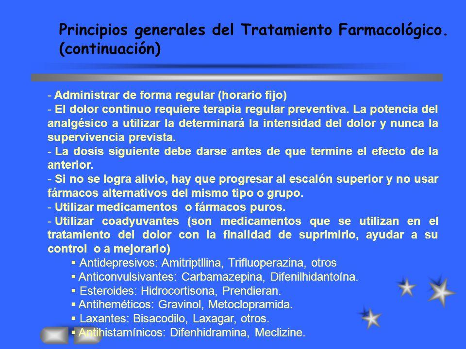 - Administrar de forma regular (horario fijo) - El dolor continuo requiere terapia regular preventiva.