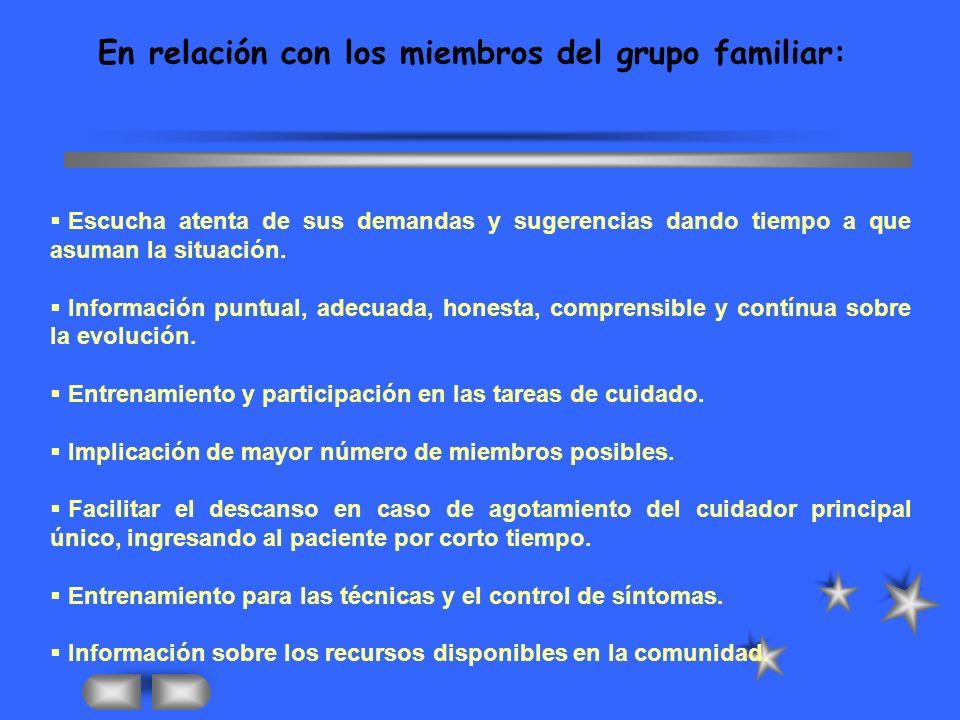 En relación con los miembros del grupo familiar: Escucha atenta de sus demandas y sugerencias dando tiempo a que asuman la situación.
