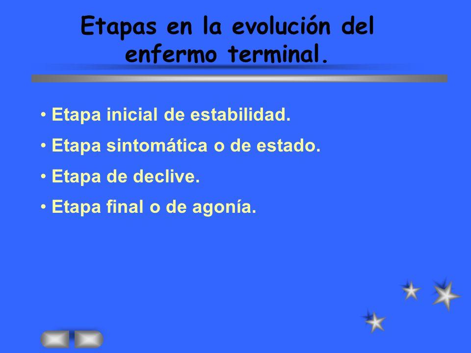 Etapas en la evolución del enfermo terminal.Etapa inicial de estabilidad.