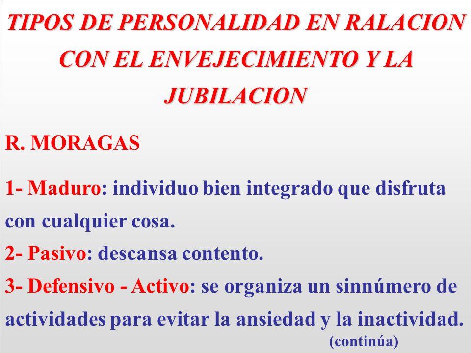 TIPOS DE PERSONALIDAD EN RALACION CON EL ENVEJECIMIENTO Y LA JUBILACION R. MORAGAS 1- Maduro: individuo bien integrado que disfruta con cualquier cosa