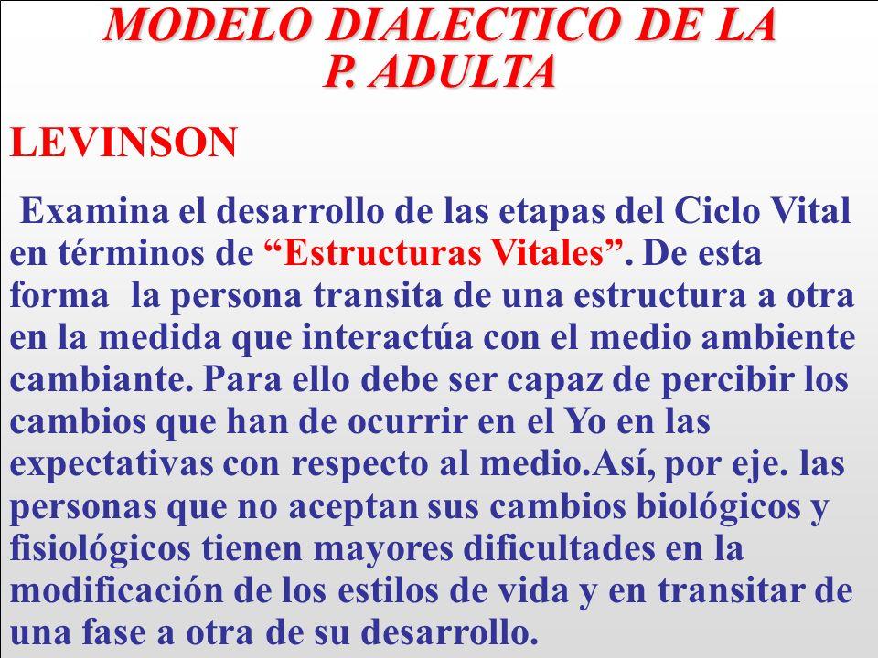 MODELO DIALECTICO DE LA P. ADULTA LEVINSON Examina el desarrollo de las etapas del Ciclo Vital en términos de Estructuras Vitales. De esta forma la pe