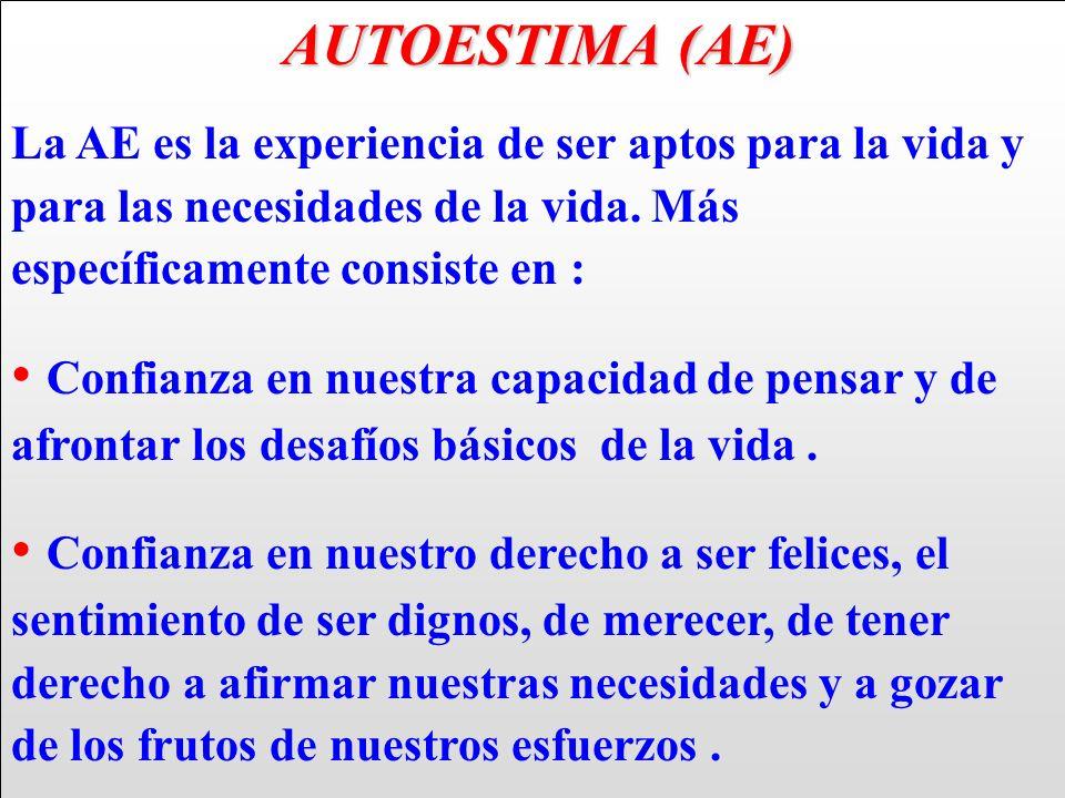 AUTOESTIMA (AE) AUTOESTIMA (AE) La AE es la experiencia de ser aptos para la vida y para las necesidades de la vida. Más específicamente consiste en :