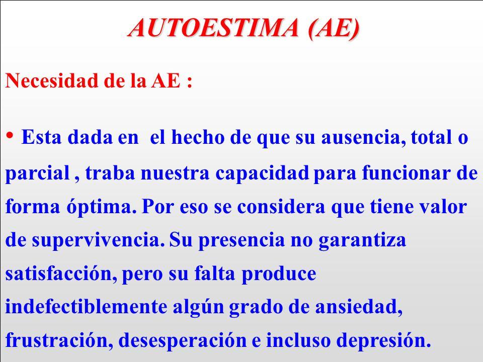 AUTOESTIMA (AE) AUTOESTIMA (AE) Necesidad de la AE : Esta dada en el hecho de que su ausencia, total o parcial, traba nuestra capacidad para funcionar