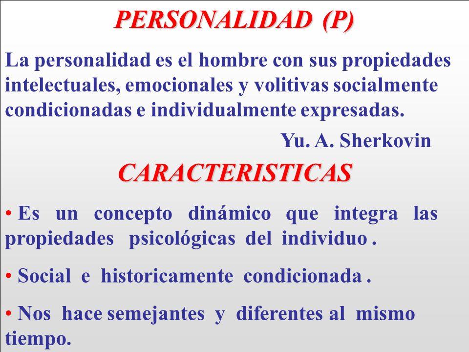 PERSONALIDAD (P) La personalidad es el hombre con sus propiedades intelectuales, emocionales y volitivas socialmente condicionadas e individualmente e