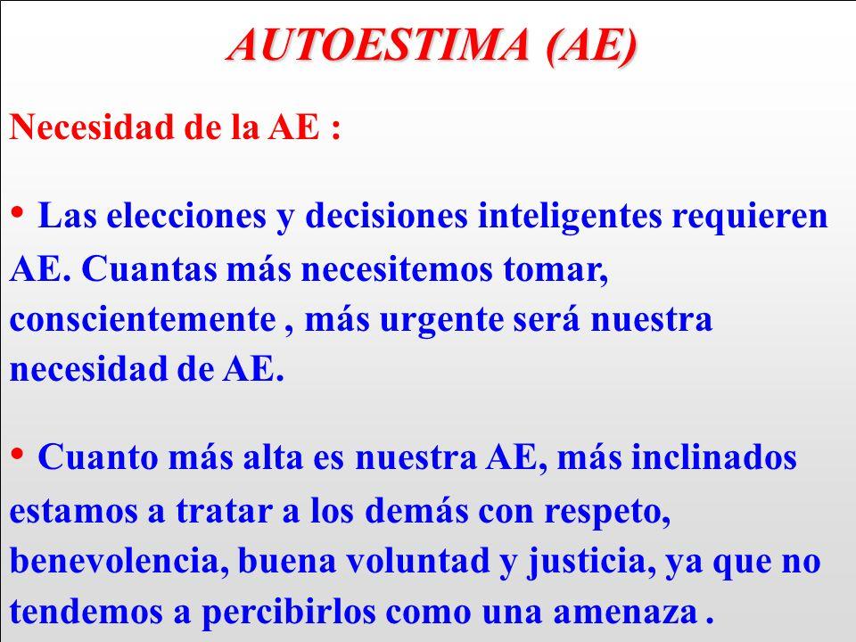 AUTOESTIMA (AE) AUTOESTIMA (AE) Necesidad de la AE : Las elecciones y decisiones inteligentes requieren AE. Cuantas más necesitemos tomar, conscientem