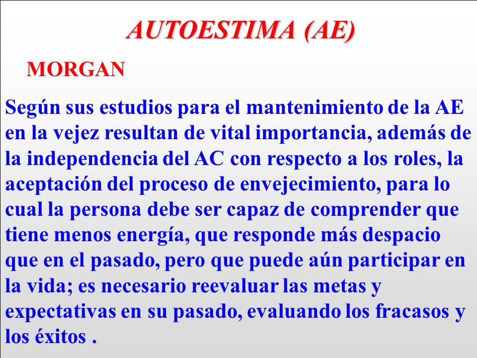 AUTOESTIMA (AE) AUTOESTIMA (AE) MORGAN Según sus estudios para el mantenimiento de la AE en la vejez resultan de vital importancia, además de la indep