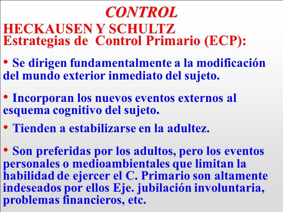 CONTROL HECKAUSEN Y SCHULTZ Estrategias de Control Primario (ECP): Se dirigen fundamentalmente a la modificación del mundo exterior inmediato del suje