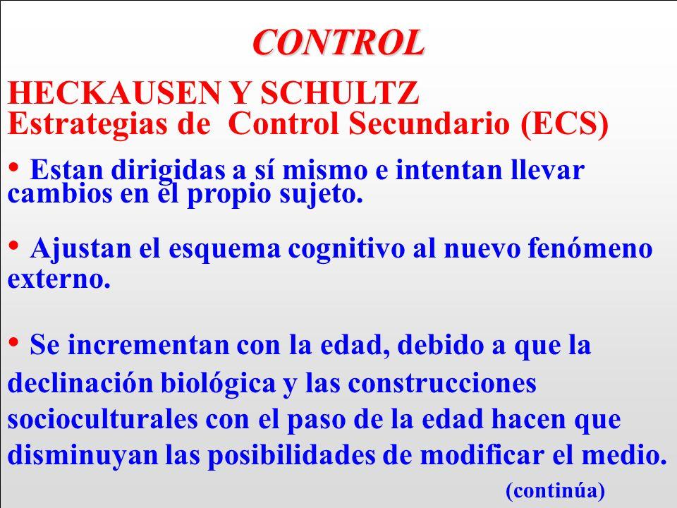 CONTROL HECKAUSEN Y SCHULTZ Estrategias de Control Secundario (ECS) Estan dirigidas a sí mismo e intentan llevar cambios en el propio sujeto. Ajustan