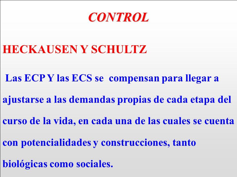 CONTROL HECKAUSEN Y SCHULTZ Las ECP Y las ECS se compensan para llegar a ajustarse a las demandas propias de cada etapa del curso de la vida, en cada