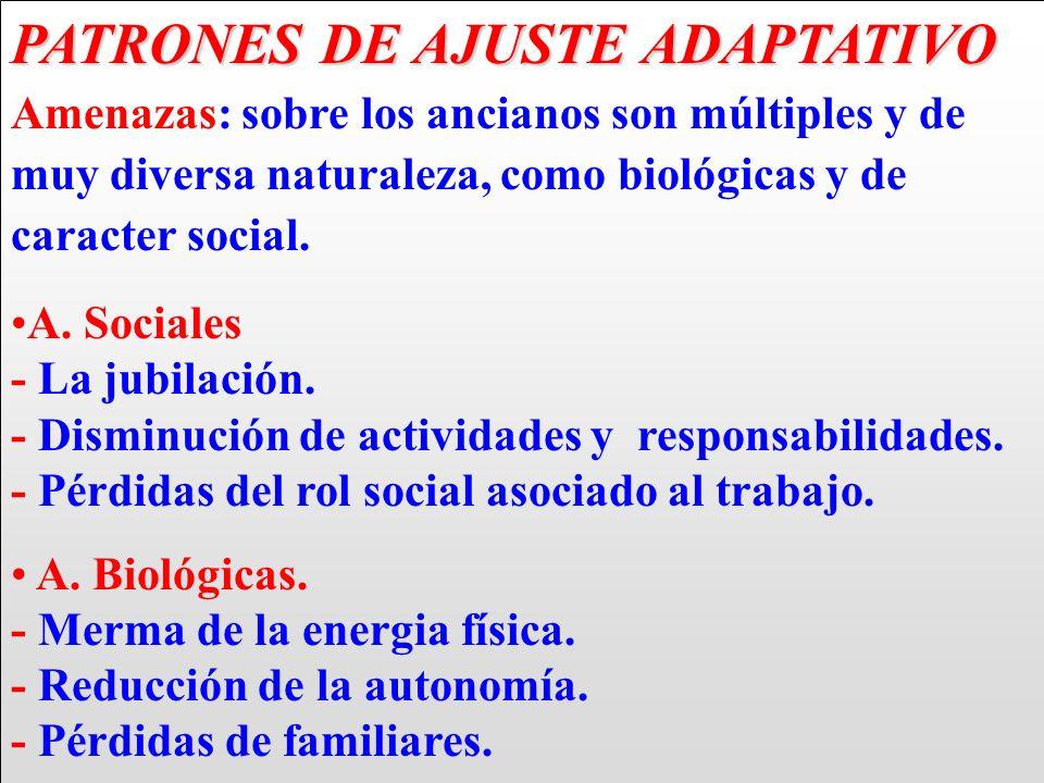 PATRONES DE AJUSTE ADAPTATIVO PATRONES DE AJUSTE ADAPTATIVO Amenazas: sobre los ancianos son múltiples y de muy diversa naturaleza, como biológicas y