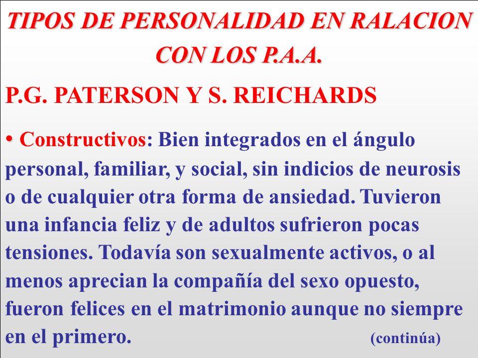 TIPOS DE PERSONALIDAD EN RALACION CON LOS P.A.A. P.G. PATERSON Y S. REICHARDS Constructivos: Bien integrados en el ángulo personal, familiar, y social