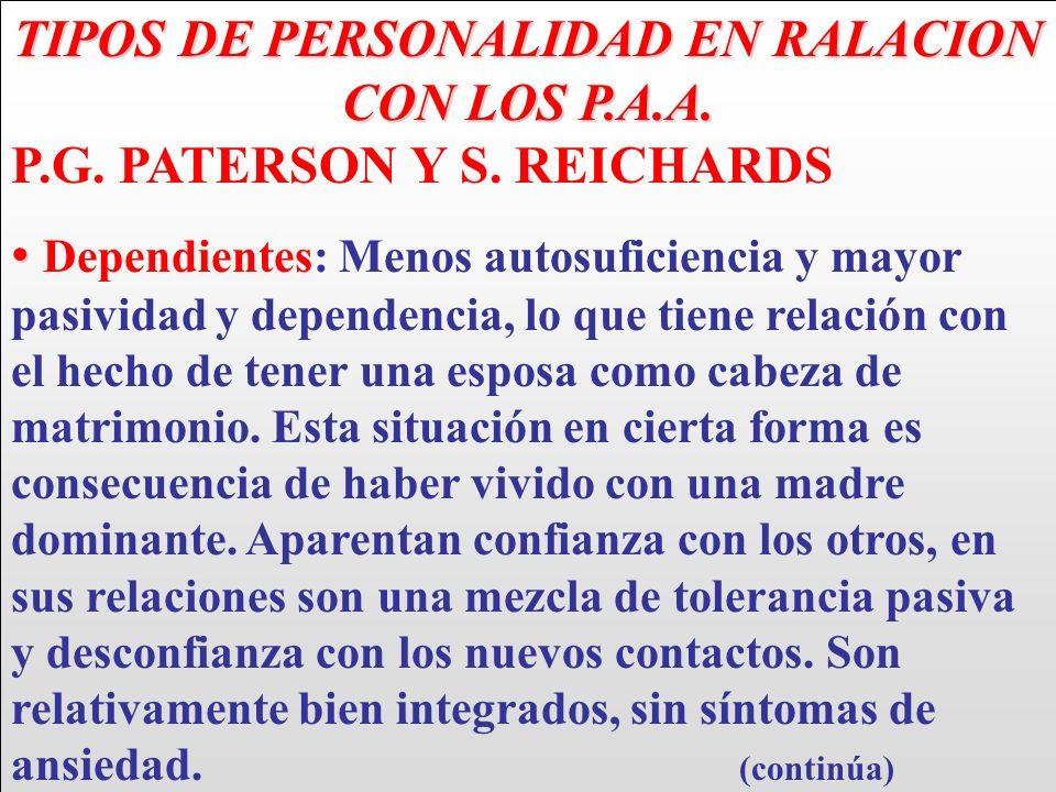 TIPOS DE PERSONALIDAD EN RALACION CON LOS P.A.A. P.G. PATERSON Y S. REICHARDS Dependientes: Menos autosuficiencia y mayor pasividad y dependencia, lo