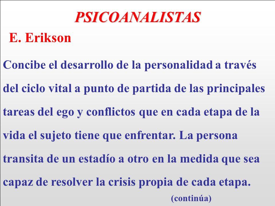PSICOANALISTAS E. Erikson Concibe el desarrollo de la personalidad a través del ciclo vital a punto de partida de las principales tareas del ego y con