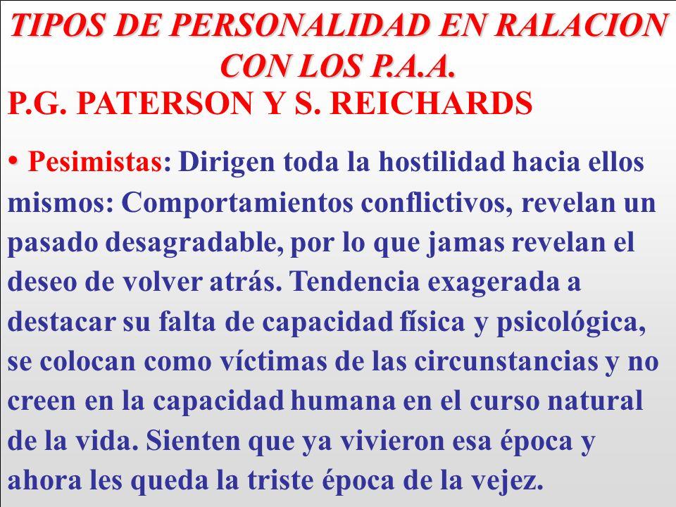 TIPOS DE PERSONALIDAD EN RALACION CON LOS P.A.A. P.G. PATERSON Y S. REICHARDS Pesimistas: Dirigen toda la hostilidad hacia ellos mismos: Comportamient