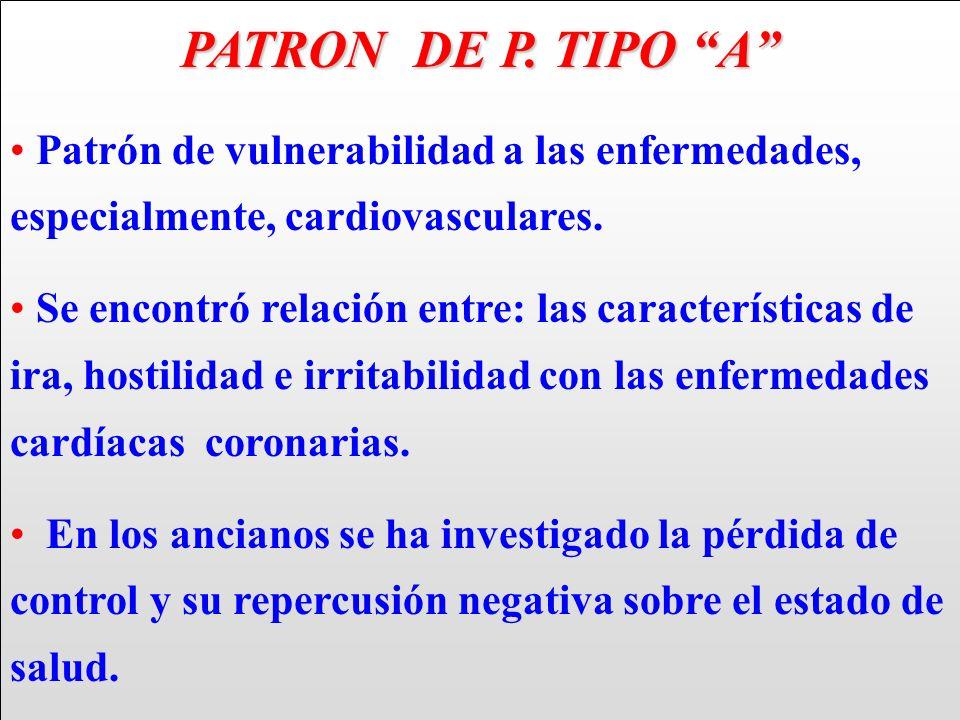 PATRON DE P. TIPO A Patrón de vulnerabilidad a las enfermedades, especialmente, cardiovasculares. Se encontró relación entre: las características de i