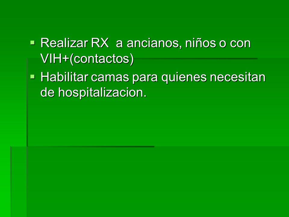Realizar RX a ancianos, niños o con VIH+(contactos) Realizar RX a ancianos, niños o con VIH+(contactos) Habilitar camas para quienes necesitan de hosp