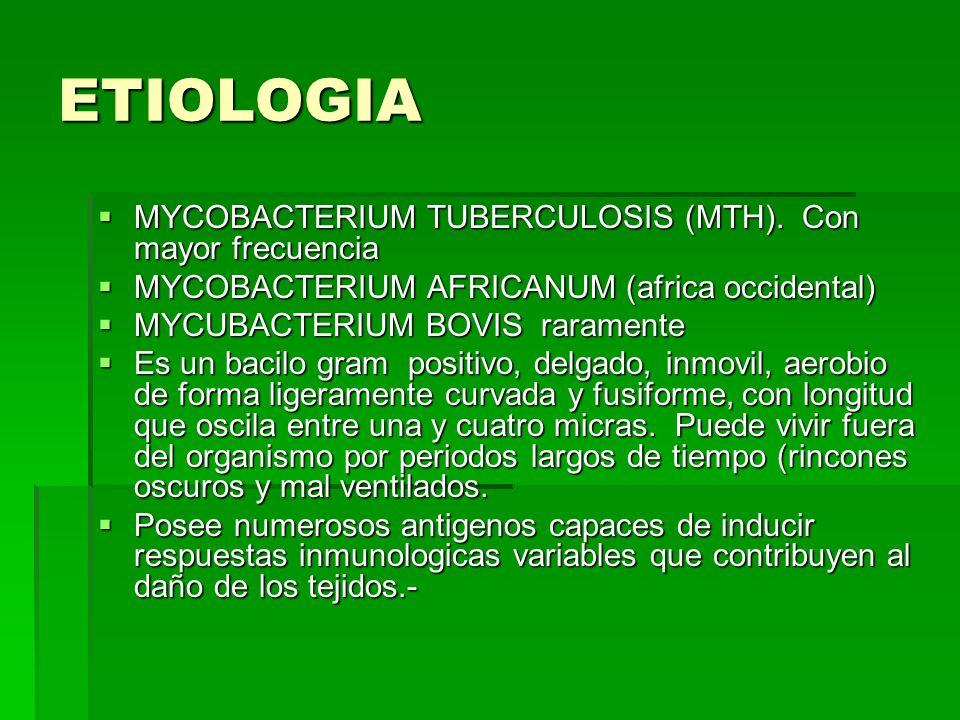 ETIOLOGIA MYCOBACTERIUM TUBERCULOSIS (MTH). Con mayor frecuencia MYCOBACTERIUM TUBERCULOSIS (MTH). Con mayor frecuencia MYCOBACTERIUM AFRICANUM (afric