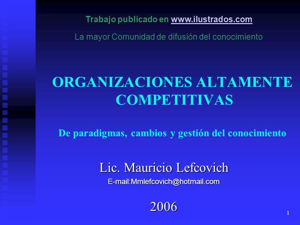 1 ORGANIZACIONES ALTAMENTE COMPETITIVAS De paradigmas, cambios y gestión del conocimiento Lic. Mauricio Lefcovich E-mail:Mmlefcovich@hotmail.com2006 T
