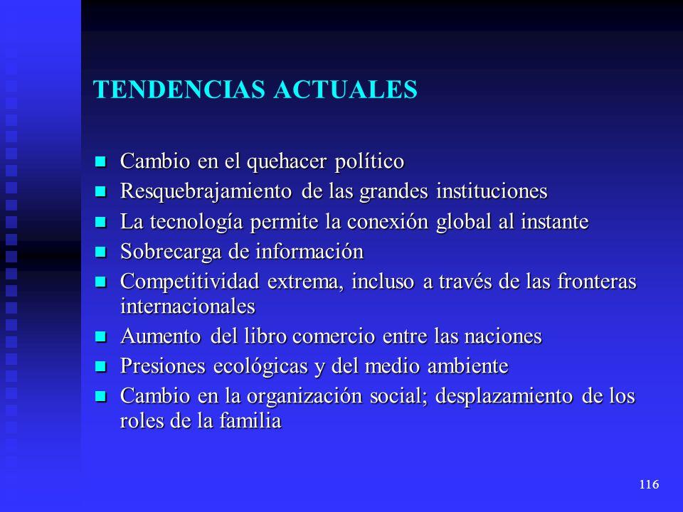 116 TENDENCIAS ACTUALES Cambio en el quehacer político Cambio en el quehacer político Resquebrajamiento de las grandes instituciones Resquebrajamiento