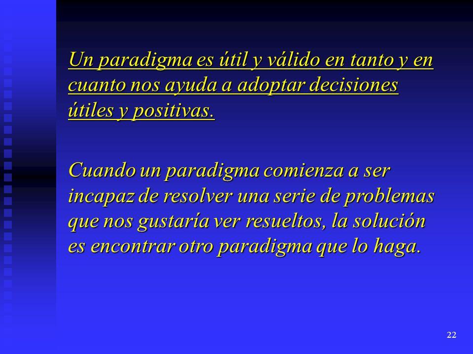 22 Un paradigma es útil y válido en tanto y en cuanto nos ayuda a adoptar decisiones útiles y positivas. Cuando un paradigma comienza a ser incapaz de