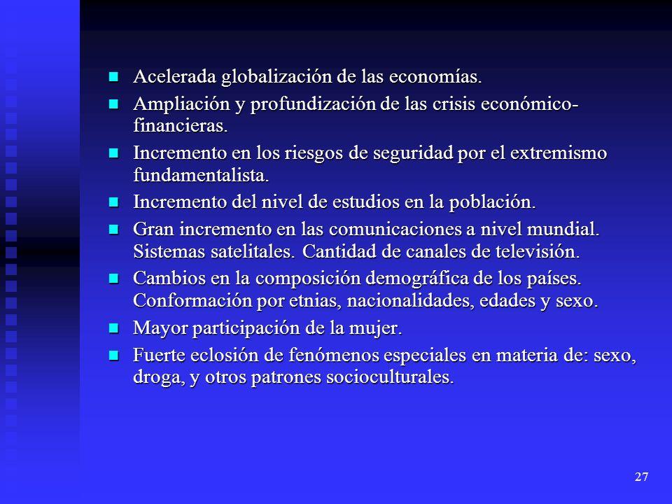 27 Acelerada globalización de las economías. Acelerada globalización de las economías. Ampliación y profundización de las crisis económico- financiera