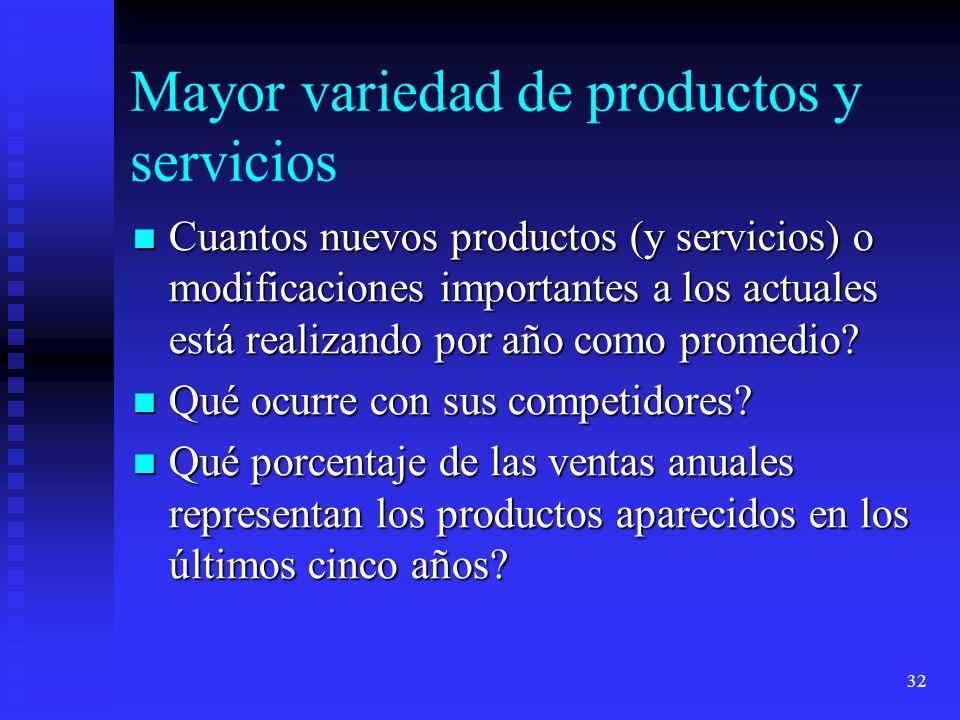 32 Mayor variedad de productos y servicios Cuantos nuevos productos (y servicios) o modificaciones importantes a los actuales está realizando por año