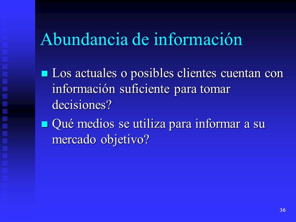 36 Abundancia de información Los actuales o posibles clientes cuentan con información suficiente para tomar decisiones? Los actuales o posibles client