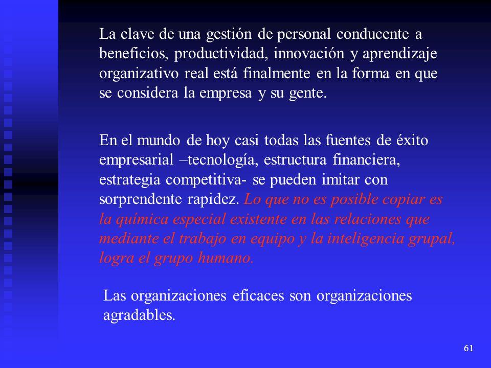 61 La clave de una gestión de personal conducente a beneficios, productividad, innovación y aprendizaje organizativo real está finalmente en la forma