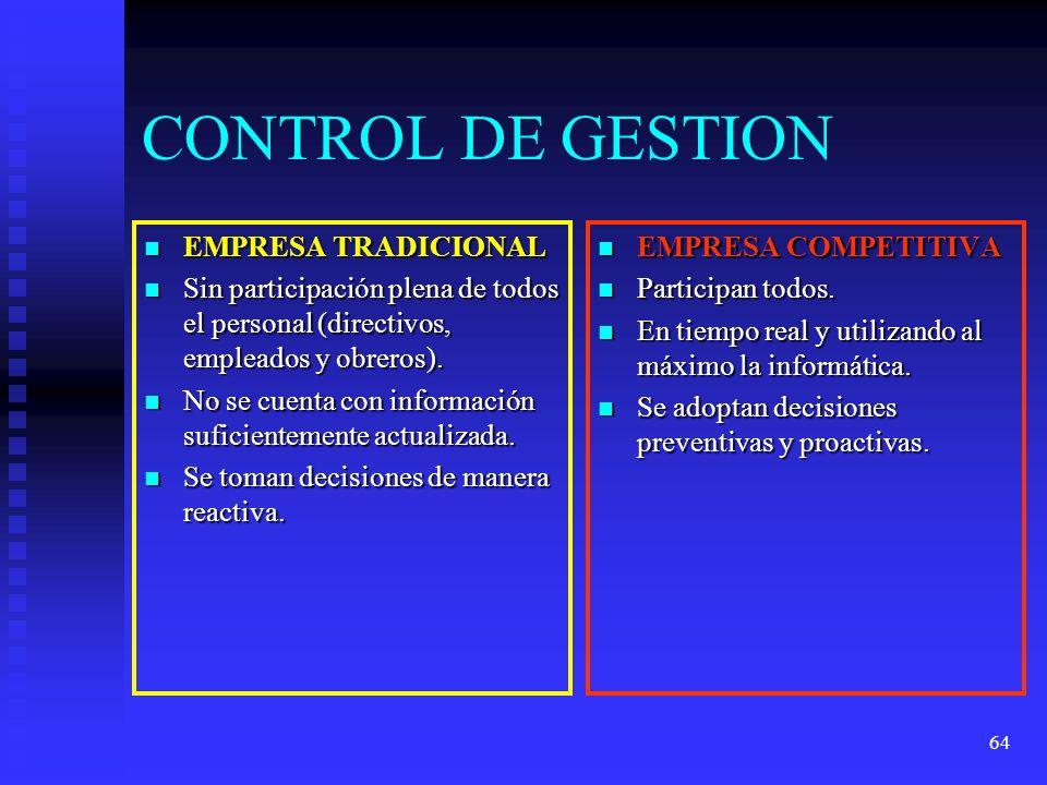 64 CONTROL DE GESTION EMPRESA TRADICIONAL EMPRESA TRADICIONAL Sin participación plena de todos el personal (directivos, empleados y obreros). Sin part
